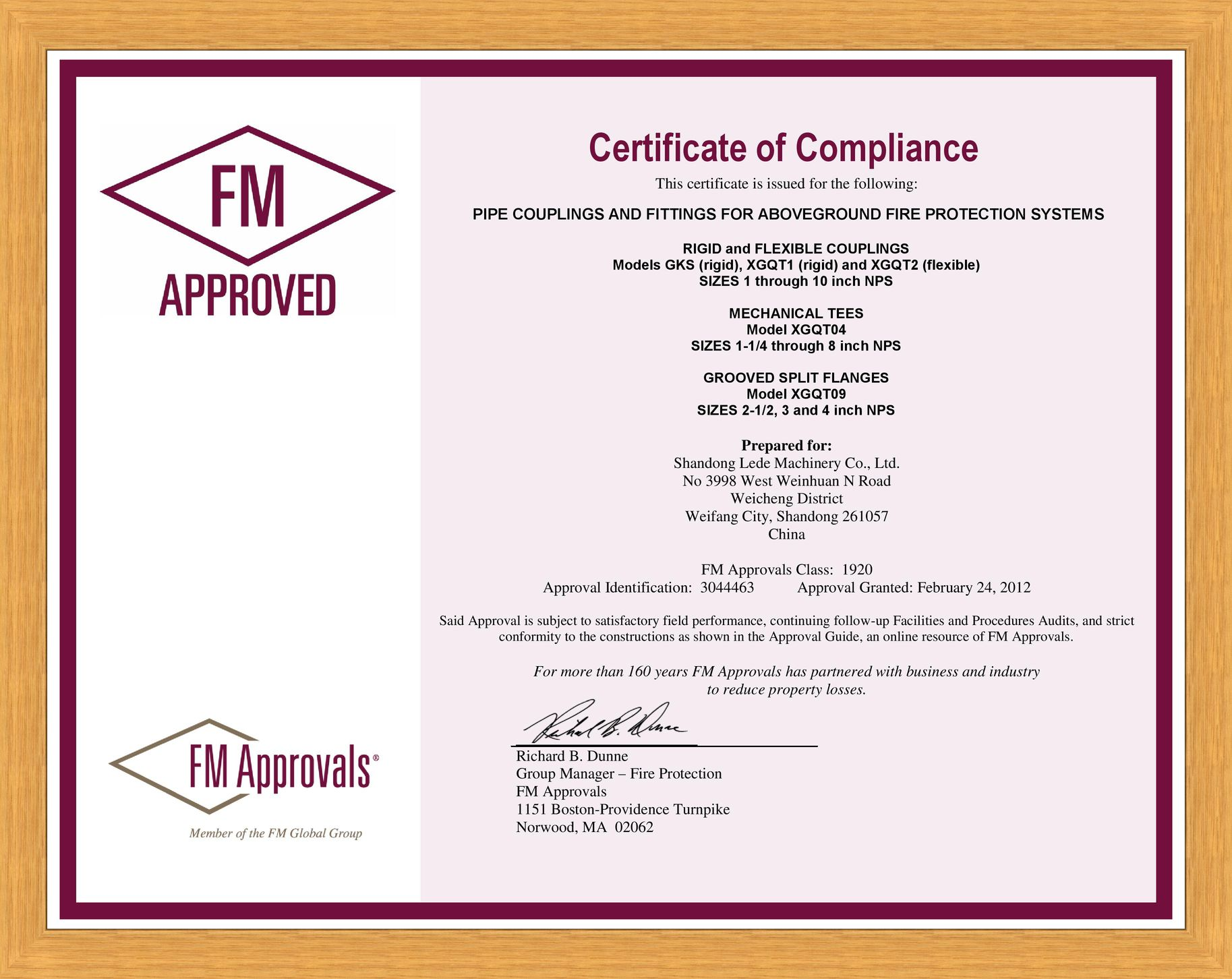 FM Approved sertificate (Couplings, Mechanical tees, Flanges), 2012