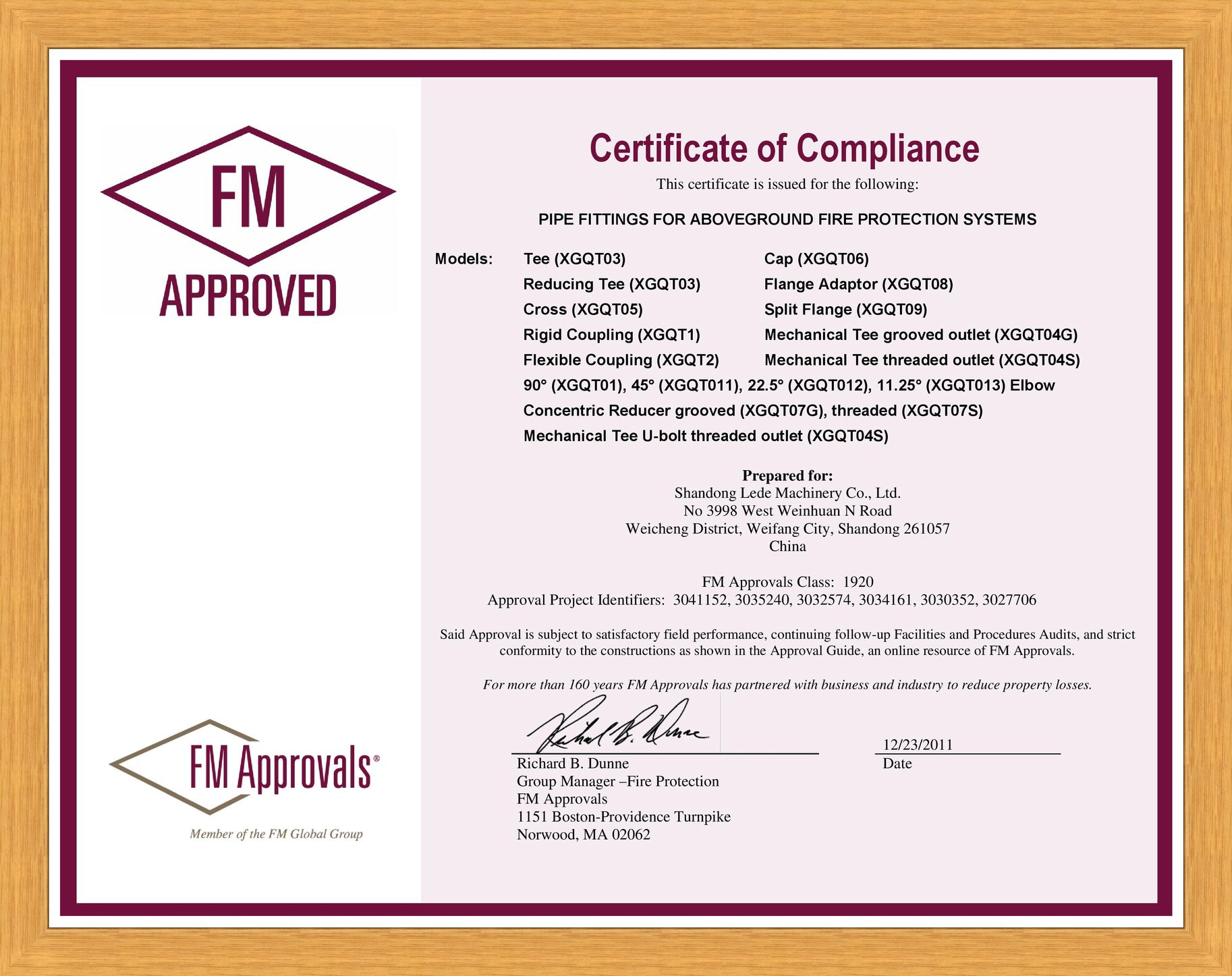 FM Approved sertificate (Fittings and Mechanical tees, Flanges), 2011