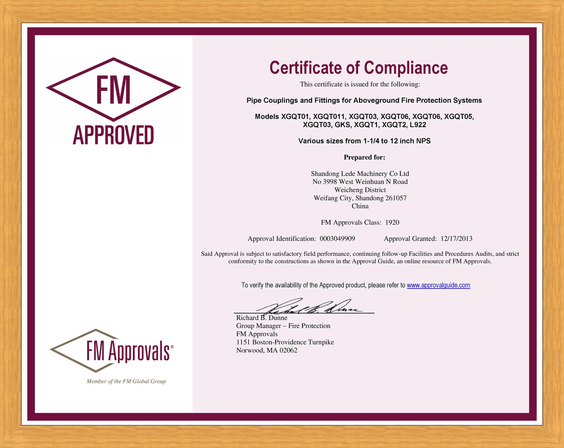 FM Approved sertificate (Pipe Couplings and Fittings), 2013